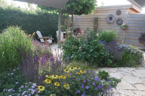 De-Tuinen-van-Renee-Koen-tuinontwerp-kleine-achtertuin-bloeiende-beplanting