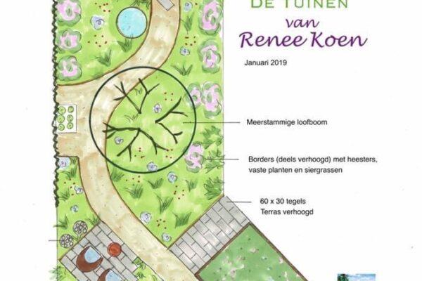 De Tuinen van Renee Koen tuinontwerp groene achtertuin diagonale bestrating in Stompetoren